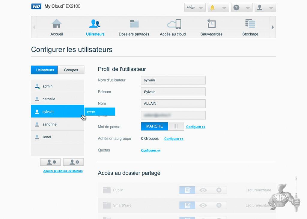 WD My Cloud EX2100 - Configuration Utilisateurs et groupes