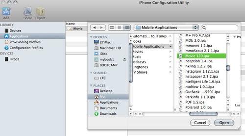 Utilitaire de configuration pour iPhone