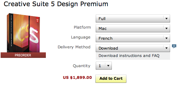 Adobe CS5 Design premium boxed FR in the USA