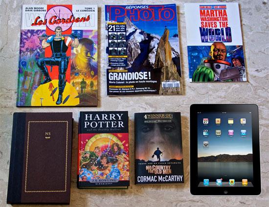 iPad vs books - above