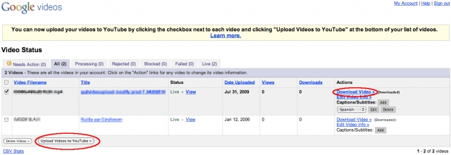 Upload vers YouTube automatique