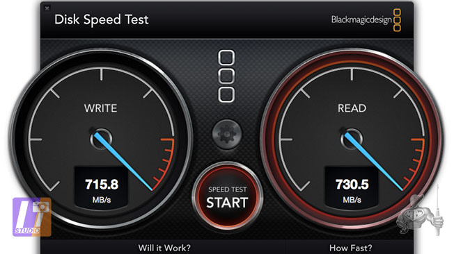 Disk Speed Test SSD Samsung 512 CTO MBA 13