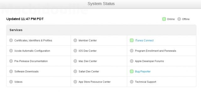 ios dev center status page