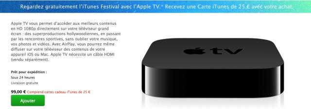 Apple offre une carte iTunes de 25 euros avec ses Apple TV